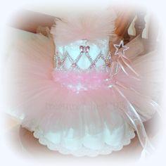 Pink Princess Tutu Diaper Cake Baby Shower Centerpiece Decorations Gift.