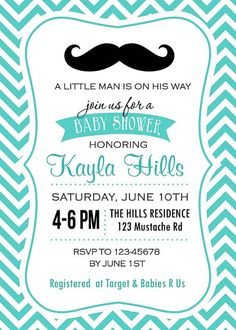 Mustache Baby Shower Invitation PRINTABLE in Blue by AimeeCreation, $14.00