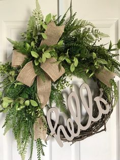 Excited to share this item from my #etsy shop: FARMHOUSE WREATH,Fall Wreath,Front Door Wreath,All Year Wreath,Greenery Wreath,Fern Wreath,Year Round Wreath,Hello Wreath,Winter Wreath