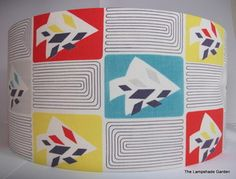 "1950s Vintage Abstract Atomic Tree Fabric Handmade Lampshade 18"" | eBay"
