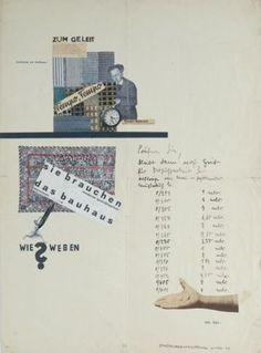 """Grete Reichardt, """"sie brauchen das bauhaus"""" (""""you need the Bauhaus""""), 1928. Textile collage by weaving student Reichardt on the subject of creative tension at the Dessau Bauhaus. The piece expresses an unease some  students were feeling at increasingly being urged to create work that could be produced commercially. Free experimentation - a constant tenet of the Bauhaus - seemed under threat."""