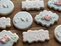 You will get 1 Dozen of Cookies decorated with Royal Icing(12 regular sized cookies) -as picturedLet me know if you would like to make any changes to them(different color, or different wording on them).Ingredients: Flour, Sugar, Butter, Eggs, Pure Vanilla, Baking Powder, SaltAll orders are made fresh to order, I do not make my cookies in advance. Please assure I have availability in my schedule prior to placing your order. I start working on orders the same or next day, so if you would like to c Spa Cookies, Cookies For Kids, Baby Cookies, Baby Shower Cookies, Iced Cookies, Bacherolette Party, Party Ideas, First Birthday Cookies, 2nd Birthday