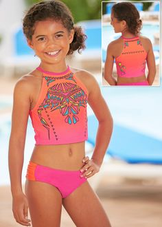 4c46111e432 From CWDkids  Aztec Crop 2-PC Swim Suit Preteen Fashion