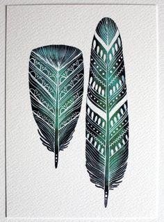 Émeraude de plumes aquarelle Archiv... par RiverLuna sur Etsy