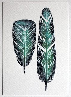 Emerald Feathers Watercolor Painting 5x7 Archival by RiverLuna