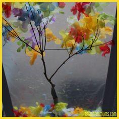Sticky Fall Window Art - using flowers from a cheap Hawaiian Lei.