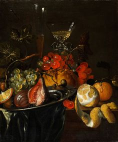 FRUCHTSTILLLEBEN MIT ZINNSCHALE UND GLASPOKAL Öl auf Leinwand. 49,5 x 41,5 cm. Die unterschiedlichsten Früchte wie helle und rot leuchtende Trauben zwischen...