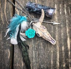 Teal cattle skull Camo 12GA rose arrow mirror by RedneckHBoutique