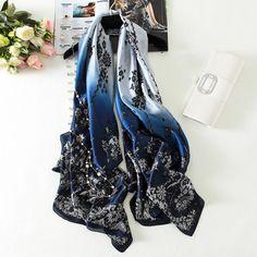 Silk Scarf Digital Print Big size Shawl & Wrap Luxury Long Soft Foulard