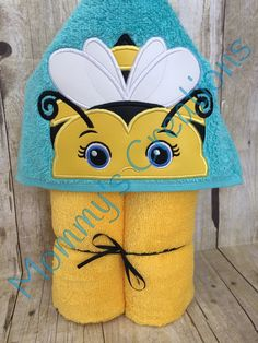 "Girl Bumblebee Applique Hooded Bath, Beach Towel 30"" x 54"" by MommysCraftCreations on Etsy"