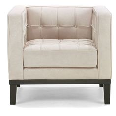 Armen Living Roxbury Tufted Arm Chair - Cream - Accent Chairs at Hayneedle