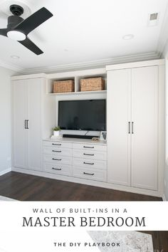 A wall of built-ins in a master bedroom space make the room high-end and functio. A wall of built-ins in a master bedroom space make the room high-end and functional