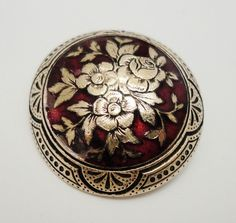 Antique Vintage Victorian Domed Red Enamel Button with Brass Flowers and Lovely Border