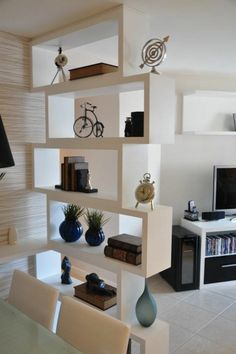 How to furnish a small living room and decorate with a niche wall and various access . - How to furnish a small living room and decorate with a niche wall and various accessories - Living Room Partition Design, Room Partition Designs, Living Room Divider, Living Room Tv, Partition Ideas, Partition Walls, Room Interior, Home Interior Design, Interior Design Ideas For Small Spaces