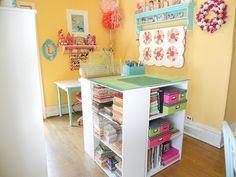 cutting table using target bookshelves