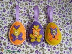 Filcből készült gyöngyös-flitteres tojások!, Dekoráció, Húsvéti apróságok, Otthon, lakberendezés, Dísz, Meska