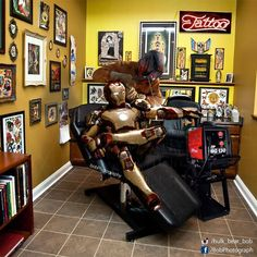 Badass Iron Man #badass #ironman #tattoo #welder #studio #marvel #robertdowneyjr #funnypictures #art #photomanipulation #bobphotography