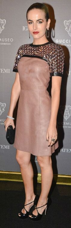 Camilla Belle wearing a Gucci leather   sequin dress at the Gucci Museo   Forever Now  exhibit - 2014 ffbc6ca13