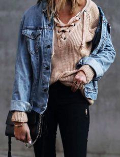 lace up sweater + denim