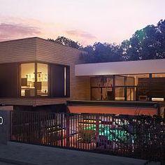 Zx190 - Nowoczesny dom z salonem usytuowanym na frontową elewacje i garażem podziemnym...