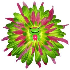 """Hot+Pink+and+Lime+Froggie+Flower+Hair+Clip,+4.5"""""""
