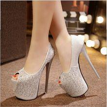 Club nocturno Sexy 19 CM Tacones Altos 7 CM Zapatos de Plataforma de la Mujer Bling Bling Crystal Rhinestone Mujeres Bombas Peep Toe Moda Zapatos de las mujeres(China (Mainland))