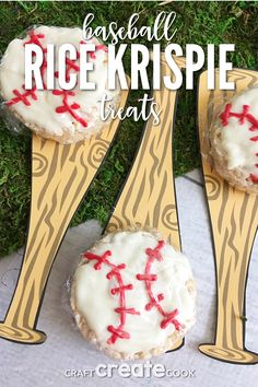 For it's one, two, three strikes you're out with our Baseball Rice Krispie Treats with Free Printable.