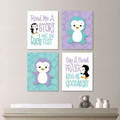 Baby Girl Nursery Art - Penguin Nursery Art - Penguin Nursery Decor - Penguin bedroom Art - Read Me a Story - Teal Lavender  (NS-616)
