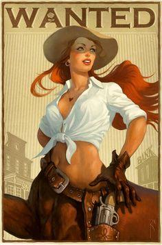 Waldamar Kazak Cowgirls Character Illustration Creative Illustration Illustration Art Pinup Art
