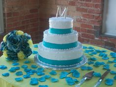 white and turquoise wedding cake - Google Search