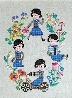 Schoolgirl Days cross stitch pattern by Gera Cross Stitch Maker, Mini Cross Stitch, Modern Cross Stitch, Cross Stitch Designs, Cross Stitch Patterns, Hand Embroidery Stitches, Cross Stitch Embroidery, Cross Stitch Numbers, Medieval Tapestry
