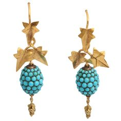 Victorian gold with turquoise earrings