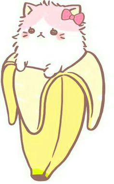 Cat banana drawing. Cute