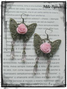 Butterflies bronze with pink flowers and crystals