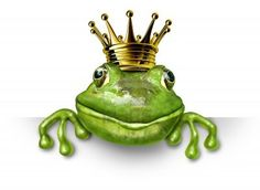 Frog prince with small gold crown holding a blank sign representing the fairy tale concept of change and transformation from an amphibian to royalty. Stock Photo - 10892155