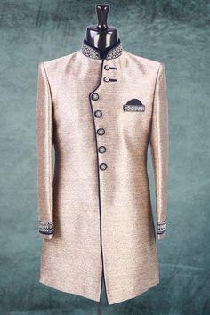 Gold zari worked brocade Indo-Western - Mens - What's New Baju India Muslim, Men's Fashion, Fashion Dresses, Indian Wedding Wear, Wedding Sherwani, Indian Man, Men Formal, Got The Look, Dress Styles