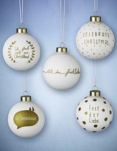 LECKER Weihnachtskugeln weiß/gold 5er-Set