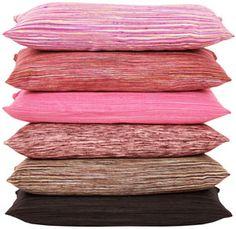 raw silk striped pillows