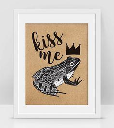 Frog Print Kiss Me Frog Print Kiss Frog Crowned by InogitnaDesigns