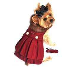 "Your dog will step out in style during the winter months wearing this Dressy Dog Harness Coat by Doggie Designs. Made with super high quality wool Blend for extra warmth and lined in ""ultra rich"" sati"