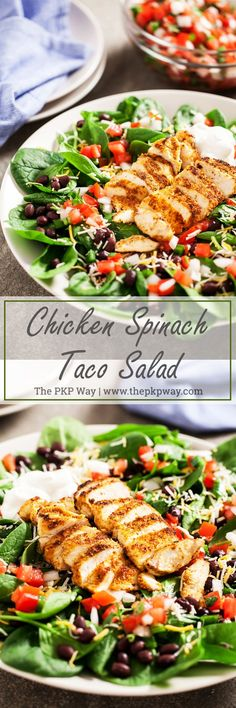 Chicken Spinach Taco Salad - Juicy and perfectly seasoned chicken served on a bed of fresh spinach leaves and topped with black beans and homemade pico de gallo.