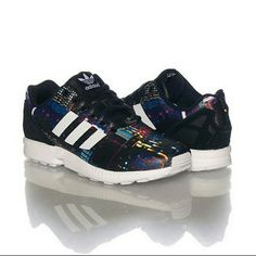 Adidas ZX Flux sneakers (blk/white/multicolor) Condition: BRAND NEW; Clean soles, tags attached! *Women's low top sneaker *Lace up closure *All-over print *Textured leather upper *Padded tongue with logo *Cushioned inner sole for comfort Adidas Shoes Sneakers