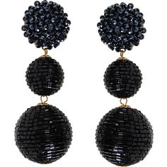 Humble Chic NY Beehive Statement Drops (2.635 RUB) ❤ liked on Polyvore featuring jewelry, earrings, black, bubble earrings, beading jewelry, stud earrings, sparkly earrings and earring jewelry