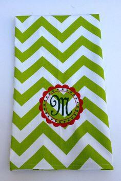 Decorative Monogram Holiday Kitchen Towel in Green Chevron