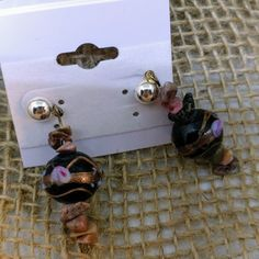 Brand New! Murano Art Glass Beads Earrings