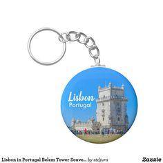 Shop Lisbon in Portugal Belem Tower Souvenir Keychain created by stdjura. Unique Gifts For Him, Dodger Blue, Belem, Dark Khaki, Lisbon Portugal, Custom Buttons, Create Your Own, Cool Designs, Light Blue