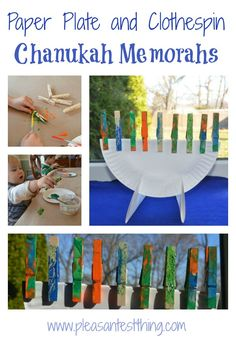 """To celebrate Chanukah this year, the kids and I made paper plate and clothespin menorahs. The kids decorated clothespin """"candles"""" with paint and glitter. Set up: 3 paper plates 9 clothe… Hanukkah Crafts, Jewish Crafts, Hanukkah Menorah, Christmas Hanukkah, Happy Hanukkah, Hannukah, Holiday Crafts, Holiday Fun, Kwanzaa"""