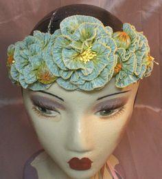 Ribbon Flower Circlet Diadem Tiara Wedding by ClytemnestrasCloset, $129.99