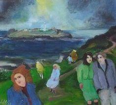 Gill Watkiss Original Mixed Media Painting Godrevy Lighthouse Cornwall