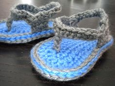 Baby Boy Crochet Flip Flops! Available in my Etsy Shop, $12.00 plus shipping